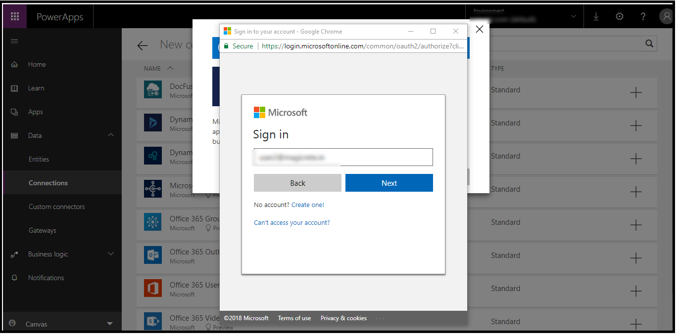 How to connect Dynamics 365 with PowerApps